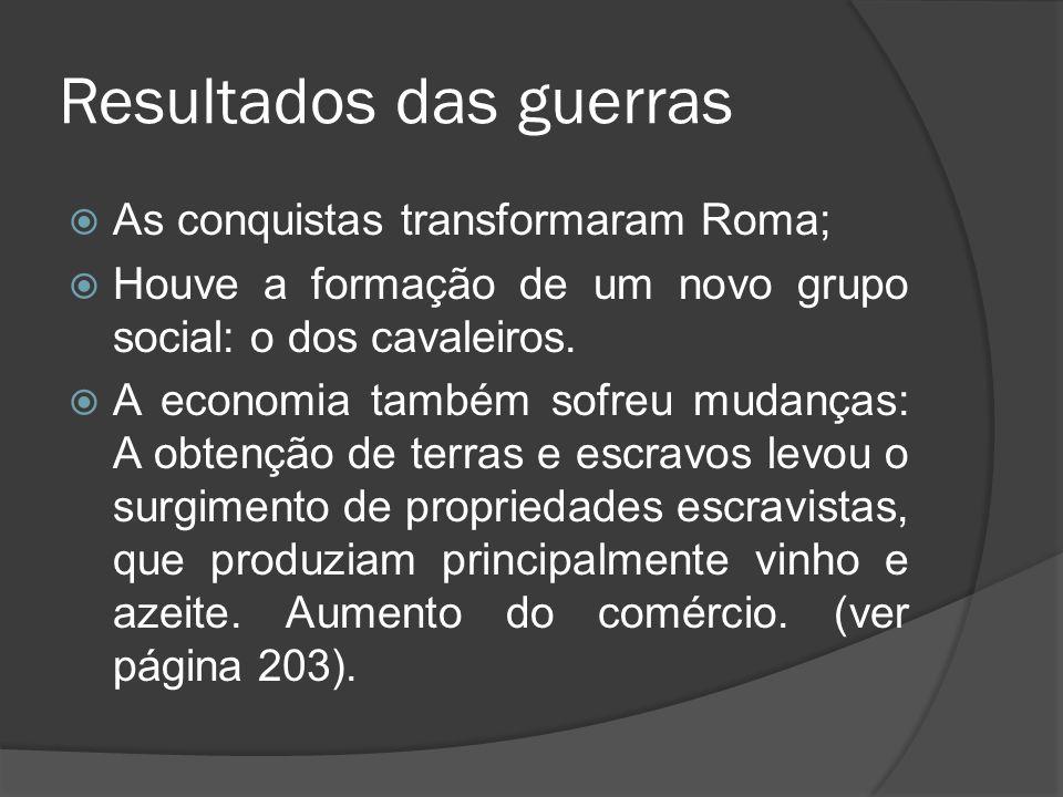 Resultados das guerras As conquistas transformaram Roma; Houve a formação de um novo grupo social: o dos cavaleiros. A economia também sofreu mudanças