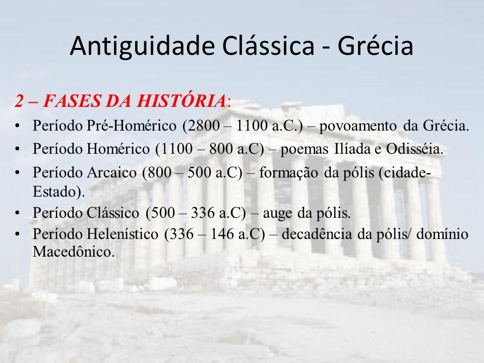 Antiguidade Clássica - Grécia 2 – FASES DA HISTÓRIA: Período Pré-Homérico (2800 – 1100 a.C.) – povoamento da Grécia.