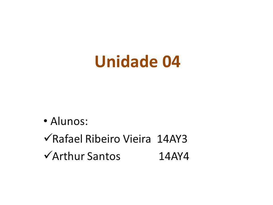 Unidade 04 Alunos: Rafael Ribeiro Vieira 14AY3 Arthur Santos 14AY4