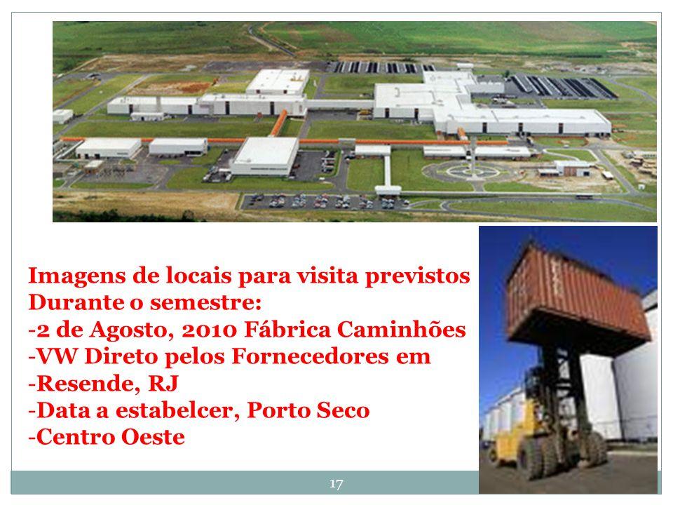 Imagens de locais para visita previstos Durante o semestre: -2 de Agosto, 2010 Fábrica Caminhões -VW Direto pelos Fornecedores em -Resende, RJ -Data a estabelcer, Porto Seco -Centro Oeste 17