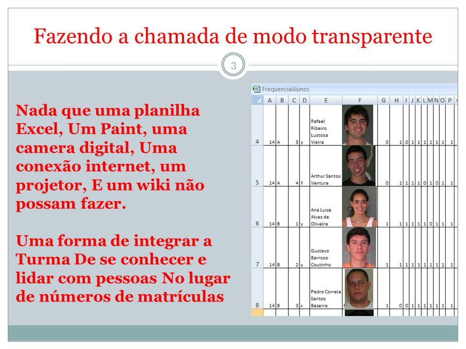 Fazendo a chamada de modo transparente 3 Nada que uma planilha Excel, Um Paint, uma camera digital, Uma conexão internet, um projetor, E um wiki não p