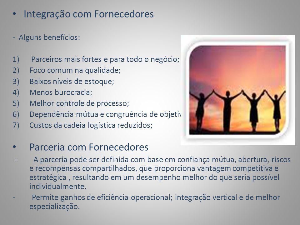 Critérios de seleção para aderir à parceria com fornecedores: - Compatibilidade corporativa cultural; -Filosofia e estilos gerenciais; -Perspectiva de confiança mútua; -Semelhança entre as empresas; Estratégias de suprimentos -Integração com fornecedores; -Efetividade organizacional; -Benchmark das melhorias práticas; -Gerenciamento de cadeias de suprimentos ; -Fornecimento mundial (global sourcing);