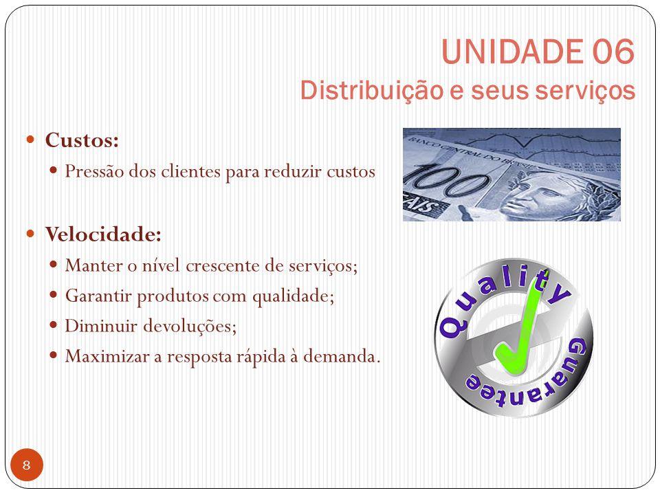 UNIDADE 06 Distribuição e seus serviços 8 Custos: Pressão dos clientes para reduzir custos Velocidade: Manter o nível crescente de serviços; Garantir produtos com qualidade; Diminuir devoluções; Maximizar a resposta rápida à demanda.
