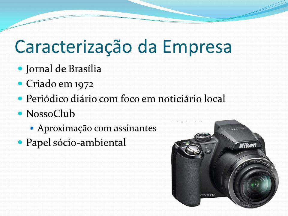 Caracterização da Empresa Jornal de Brasília Criado em 1972 Periódico diário com foco em noticiário local NossoClub Aproximação com assinantes Papel s