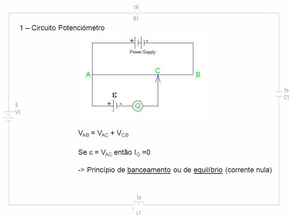 V AB = V AC + V CB Se = V AC então I G =0 -> Princípio de banceamento ou de equilíbrio (corrente nula)