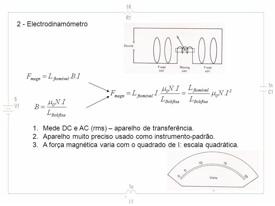 2 - Electrodinamómetro 1.Mede DC e AC (rms) – aparelho de transferência. 2.Aparelho muito preciso usado como instrumento-padrão. 3.A força magnética v