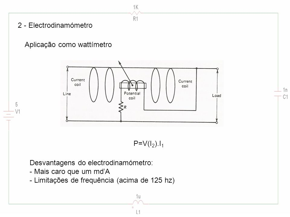 2 - Electrodinamómetro Aplicação como wattímetro P=V(I 2 ).I 1 Desvantagens do electrodinamómetro: - Mais caro que um mdA - Limitações de frequência (