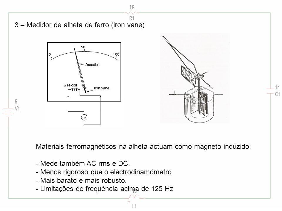 3 – Medidor de alheta de ferro (iron vane) Materiais ferromagnéticos na alheta actuam como magneto induzido: - Mede também AC rms e DC. - Menos rigoro