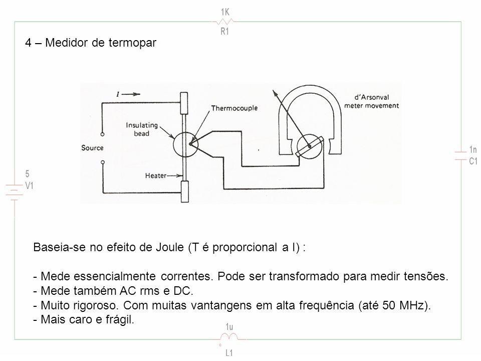 4 – Medidor de termopar Baseia-se no efeito de Joule (T é proporcional a I) : - Mede essencialmente correntes. Pode ser transformado para medir tensõe