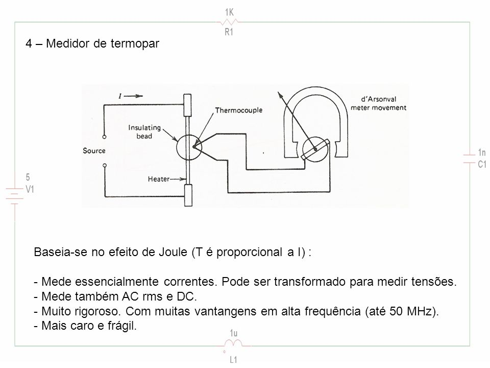 4 – Medidor de termopar Baseia-se no efeito de Joule (T é proporcional a I) : - Mede essencialmente correntes.
