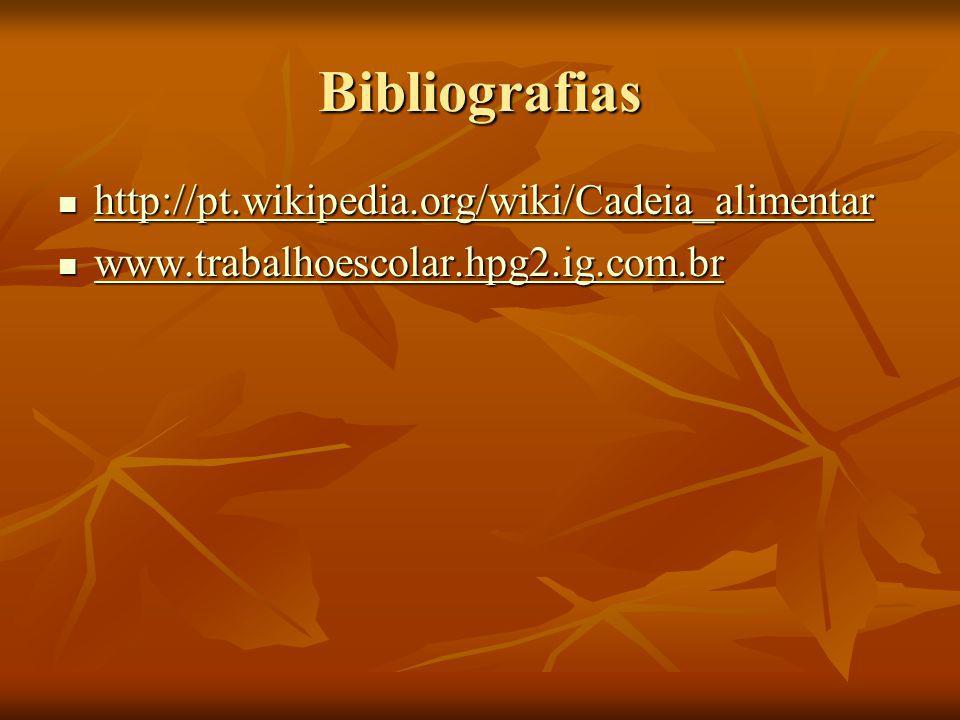 Bibliografias http://pt.wikipedia.org/wiki/Cadeia_alimentar http://pt.wikipedia.org/wiki/Cadeia_alimentar http://pt.wikipedia.org/wiki/Cadeia_alimenta