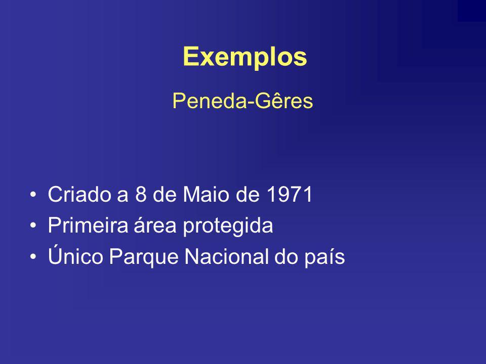 Peneda-Gêres Criado a 8 de Maio de 1971 Primeira área protegida Único Parque Nacional do país Exemplos