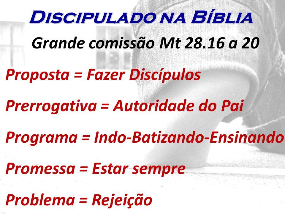 Grande comissão Mt 28.16 a 20 Proposta = Fazer Discípulos Prerrogativa = Autoridade do Pai Programa = Indo-Batizando-Ensinando Promessa = Estar sempre