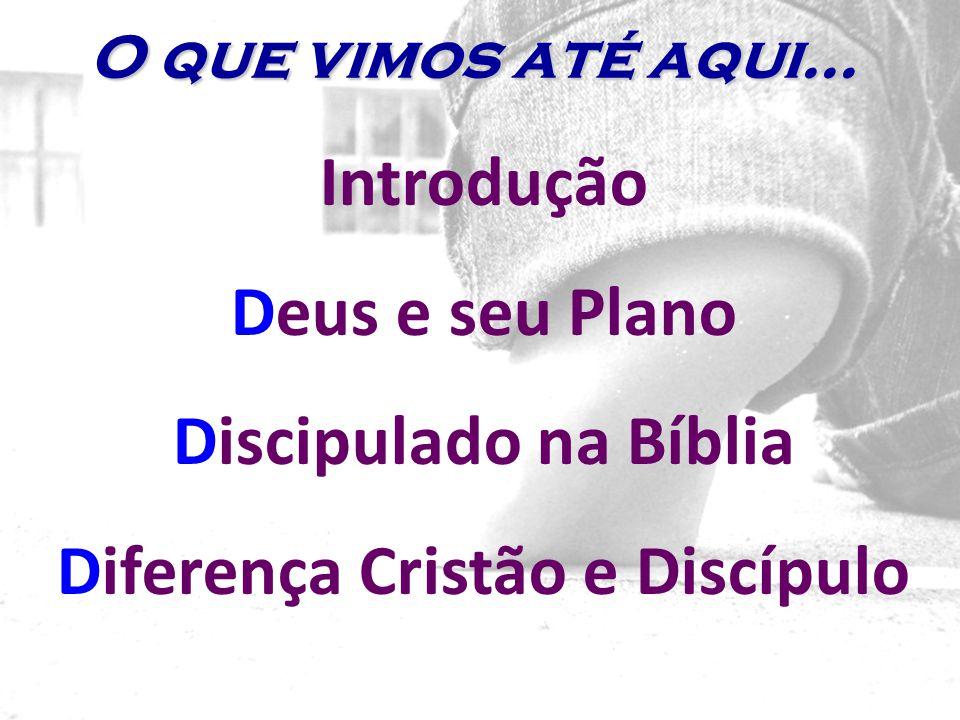 Introdução Deus e seu Plano Discipulado na Bíblia Diferença Cristão e Discípulo O que vimos até aqui...