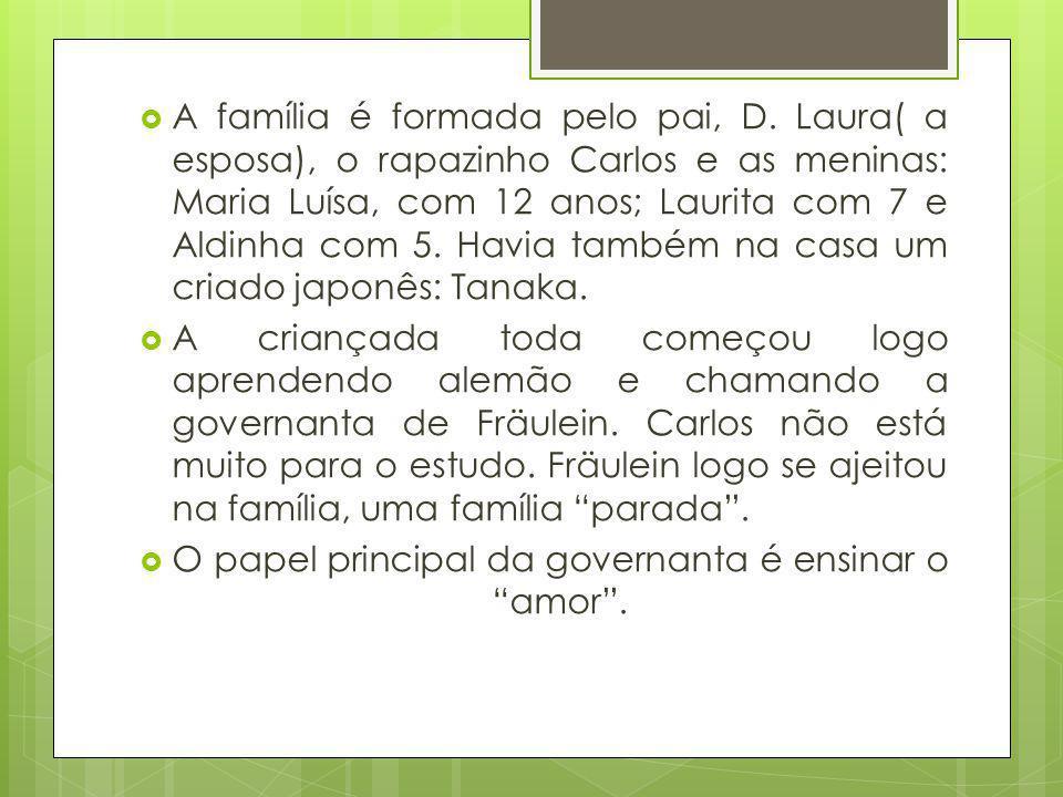 A família é formada pelo pai, D. Laura( a esposa), o rapazinho Carlos e as meninas: Maria Luísa, com 12 anos; Laurita com 7 e Aldinha com 5. Havia tam
