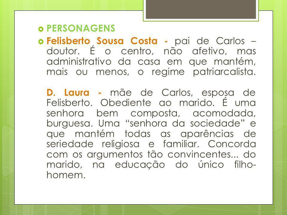 PERSONAGENS Felisberto Sousa Costa - pai de Carlos – doutor. É o centro, não afetivo, mas administrativo da casa em que mantém, mais ou menos, o regim