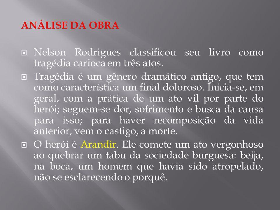 ANÁLISE DA OBRA Nelson Rodrigues classificou seu livro como tragédia carioca em três atos. Tragédia é um gênero dramático antigo, que tem como caracte