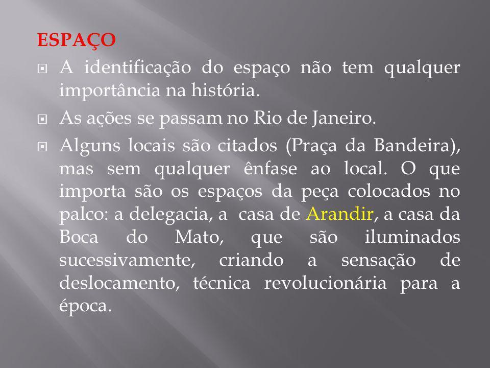 ESPAÇO A identificação do espaço não tem qualquer importância na história. As ações se passam no Rio de Janeiro. Alguns locais são citados (Praça da B