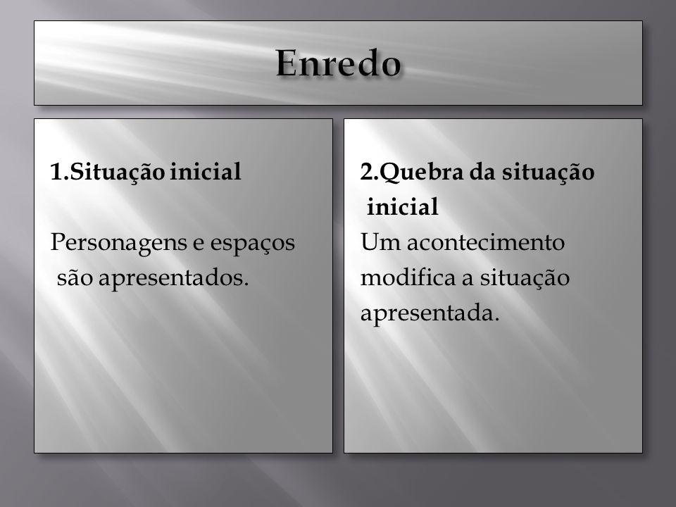 1.Situação inicial Personagens e espaços são apresentados.