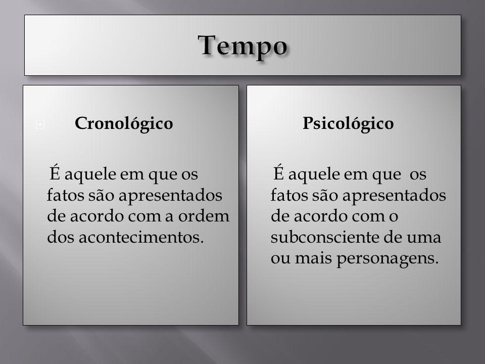 Cronológico É aquele em que os fatos são apresentados de acordo com a ordem dos acontecimentos.
