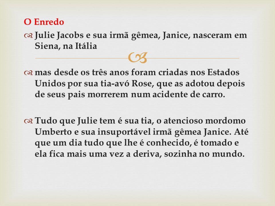 O Enredo Julie Jacobs e sua irmã gêmea, Janice, nasceram em Siena, na Itália mas desde os três anos foram criadas nos Estados Unidos por sua tia-avó R