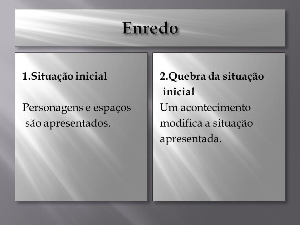 1.Situação inicial Personagens e espaços são apresentados. 1.Situação inicial Personagens e espaços são apresentados. 2.Quebra da situação inicial Um