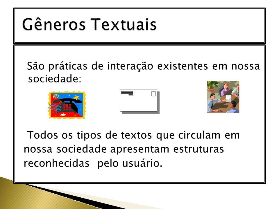 São práticas de interação existentes em nossa sociedade: Todos os tipos de textos que circulam em nossa sociedade apresentam estruturas reconhecidas p