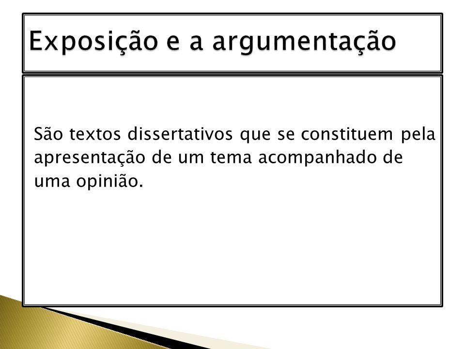 São textos dissertativos que se constituem pela apresentação de um tema acompanhado de uma opinião.