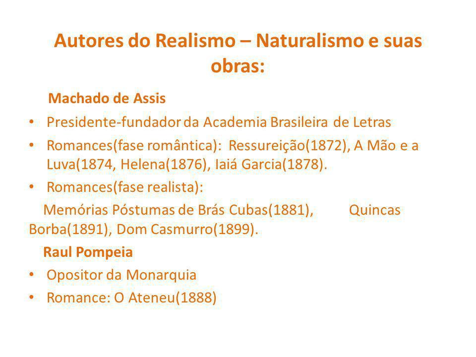 Autores do Realismo – Naturalismo e suas obras: Machado de Assis Presidente-fundador da Academia Brasileira de Letras Romances(fase romântica): Ressureição(1872), A Mão e a Luva(1874, Helena(1876), Iaiá Garcia(1878).