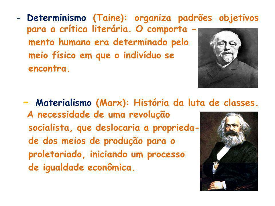 -Determinismo (Taine): organiza padrões objetivos para a crítica literária.