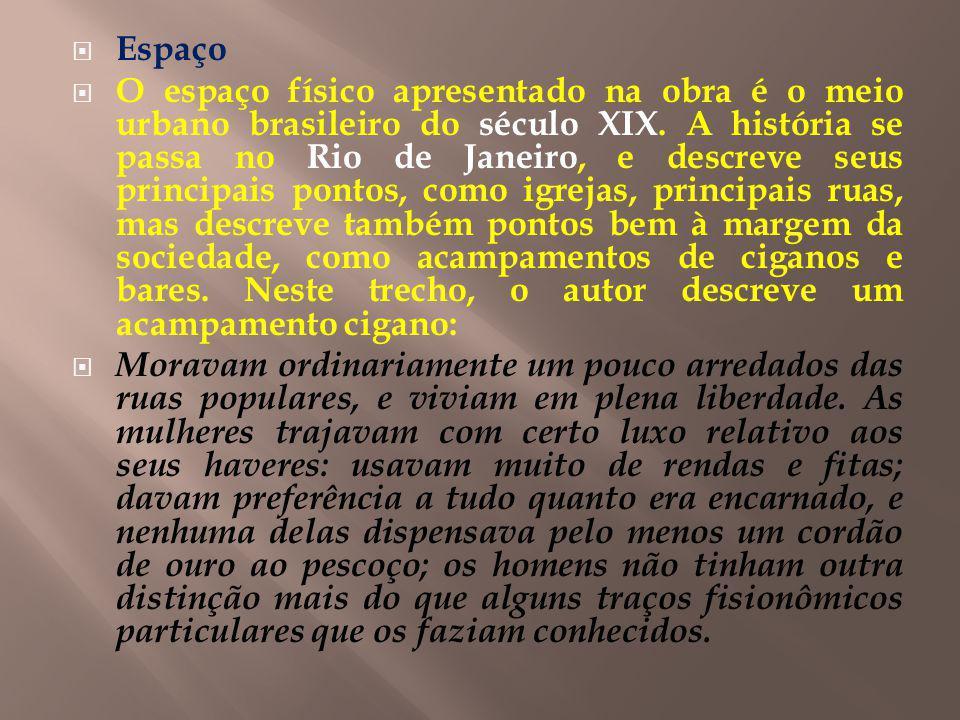 Espaço O espaço físico apresentado na obra é o meio urbano brasileiro do século XIX. A história se passa no Rio de Janeiro, e descreve seus principais