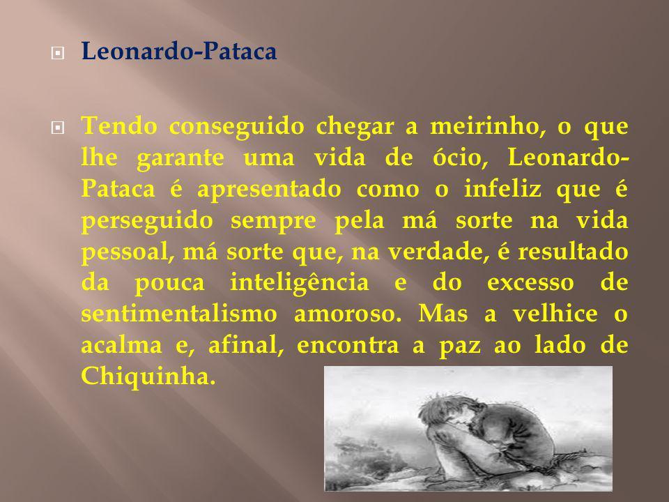 Leonardo-Pataca Tendo conseguido chegar a meirinho, o que lhe garante uma vida de ócio, Leonardo- Pataca é apresentado como o infeliz que é perseguido