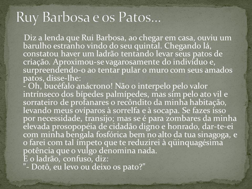 Diz a lenda que Rui Barbosa, ao chegar em casa, ouviu um barulho estranho vindo do seu quintal.
