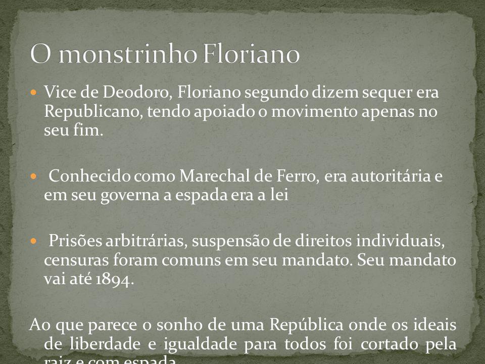 Em 1891, quando o marechal Deodoro da Fonseca, por influência da Revolta da Armada, renunciou à presidência da recém-instituída república, o vice-presidente Floriano Peixoto assumiu o poder, mas não convocou eleições após isso, contrariando o prescrito na Constituição promulgada neste mesmo ano, fato que gerou duas revoltas: a 2ª Revolta da Armada (originária da Marinha, no Rio) e a Revolução Federalista (patrocinada por fazendeiros gaúchos).