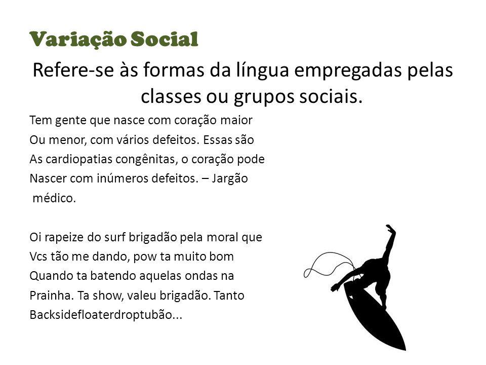 Variação Social Refere-se às formas da língua empregadas pelas classes ou grupos sociais.