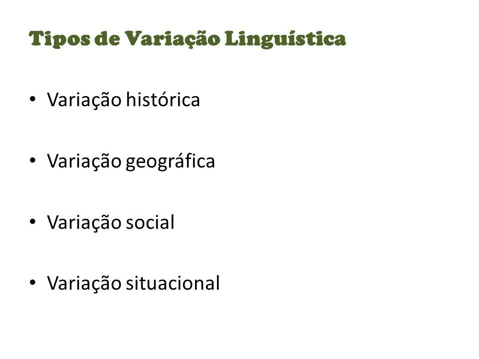 Tipos de Variação Linguística Variação histórica Variação geográfica Variação social Variação situacional