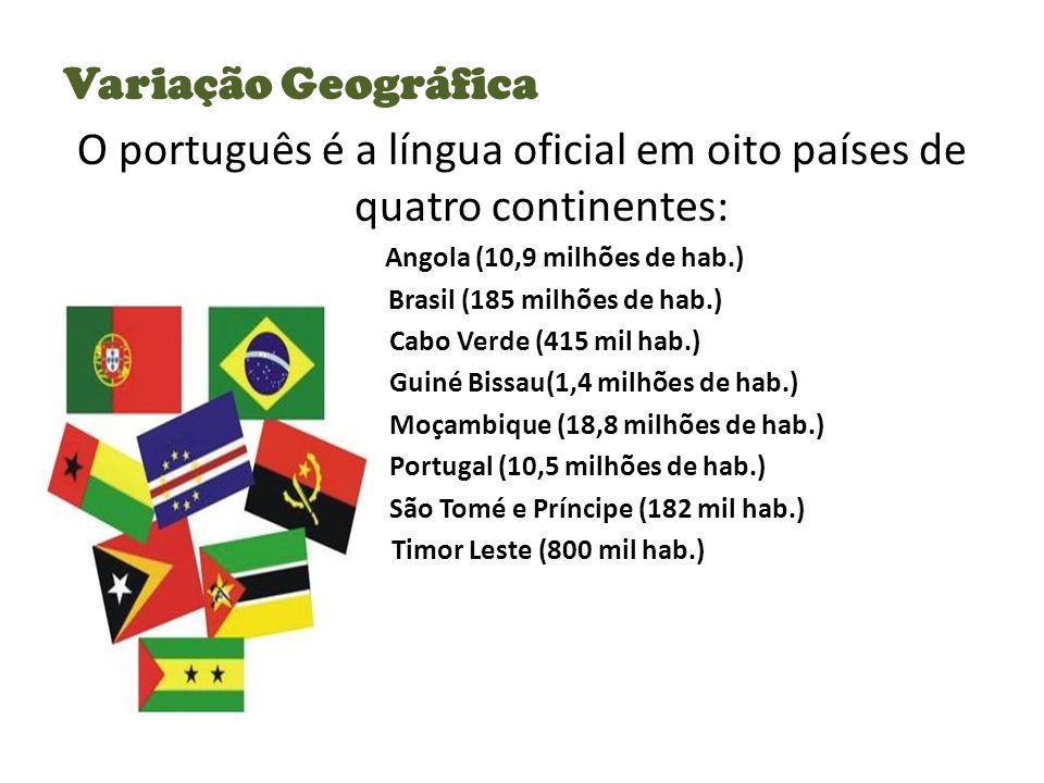 Variação Geográfica O português é a língua oficial em oito países de quatro continentes: Angola (10,9 milhões de hab.) Brasil (185 milhões de hab.) Cabo Verde (415 mil hab.) Guiné Bissau(1,4 milhões de hab.) Moçambique (18,8 milhões de hab.) Portugal (10,5 milhões de hab.) São Tomé e Príncipe (182 mil hab.) Timor Leste (800 mil hab.)