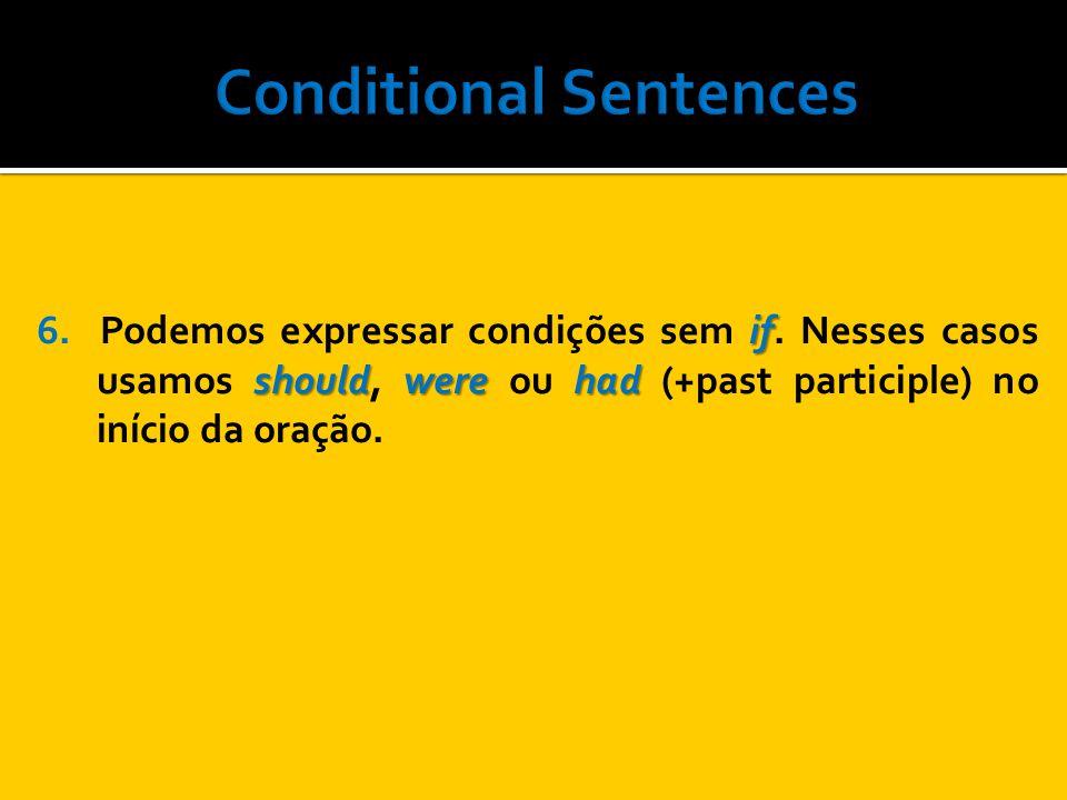 if shouldwere had 6. Podemos expressar condições sem if. Nesses casos usamos should, were ou had (+past participle) no início da oração.