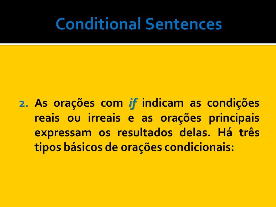 First Conditional Simple Present if Simple Present Futurewill will infinitive to First Conditional: Descreve uma condição real ou provavelmente verdadeira.