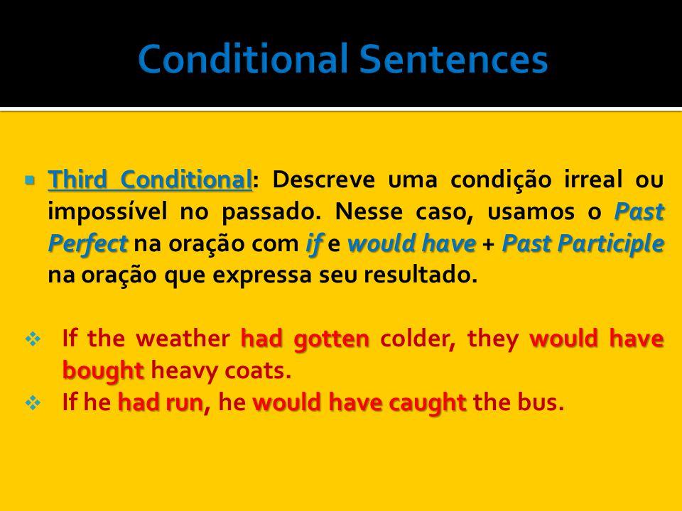 Third Conditional Past Perfect if would have Past Participle Third Conditional: Descreve uma condição irreal ou impossível no passado. Nesse caso, usa