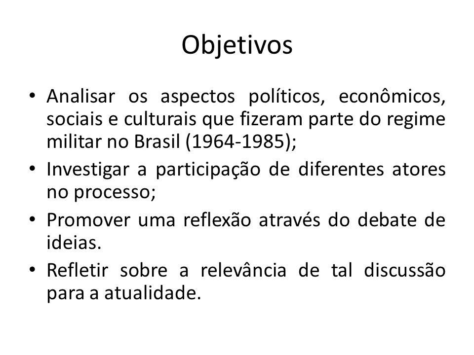 Objetivos Analisar os aspectos políticos, econômicos, sociais e culturais que fizeram parte do regime militar no Brasil (1964-1985); Investigar a part