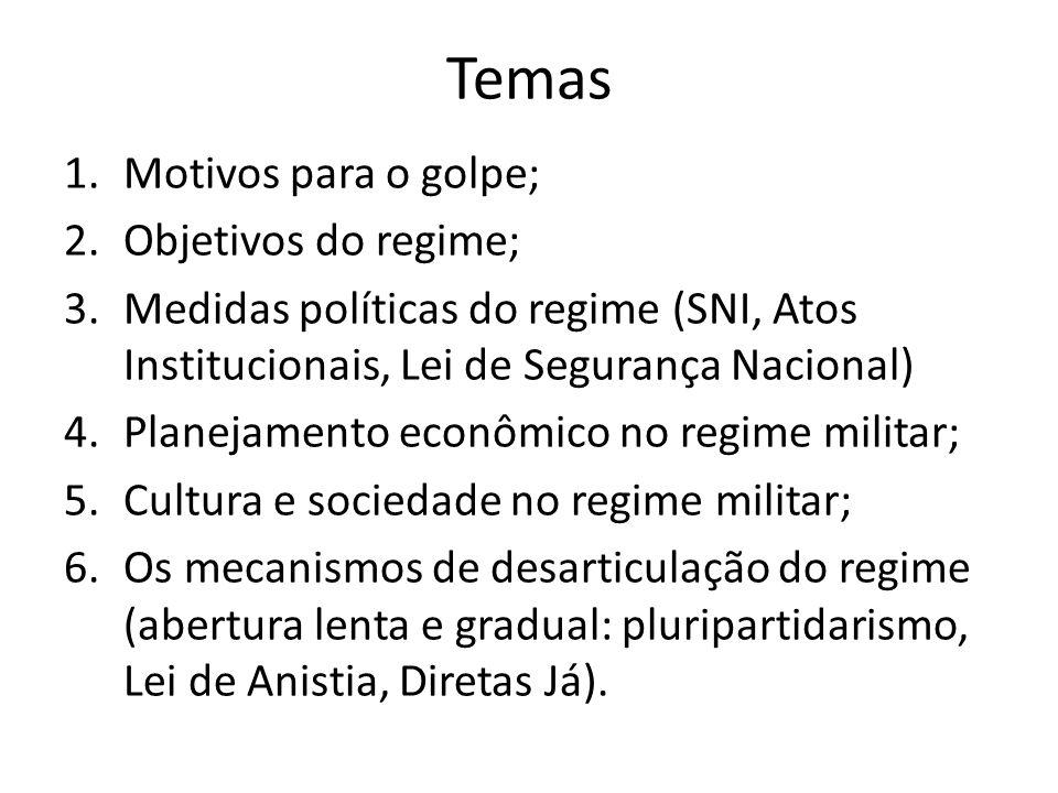 Temas 1.Motivos para o golpe; 2.Objetivos do regime; 3.Medidas políticas do regime (SNI, Atos Institucionais, Lei de Segurança Nacional) 4.Planejament