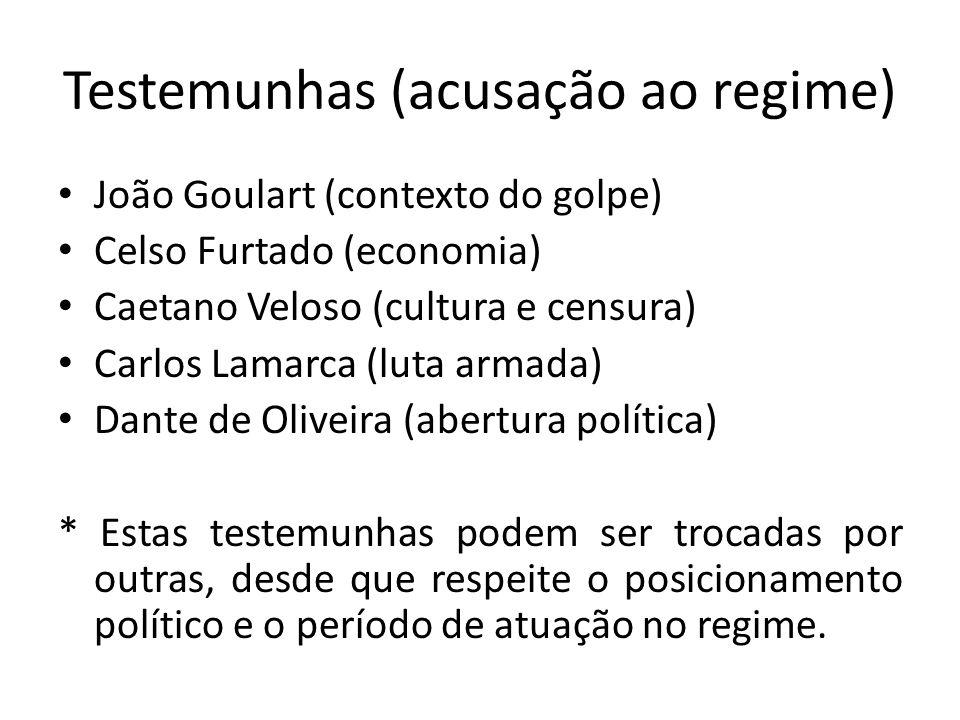 Testemunhas (acusação ao regime) João Goulart (contexto do golpe) Celso Furtado (economia) Caetano Veloso (cultura e censura) Carlos Lamarca (luta arm