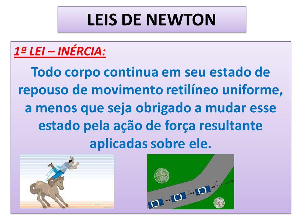 LEIS DE NEWTON 1ª LEI – INÉRCIA: Todo corpo continua em seu estado de repouso de movimento retilíneo uniforme, a menos que seja obrigado a mudar esse