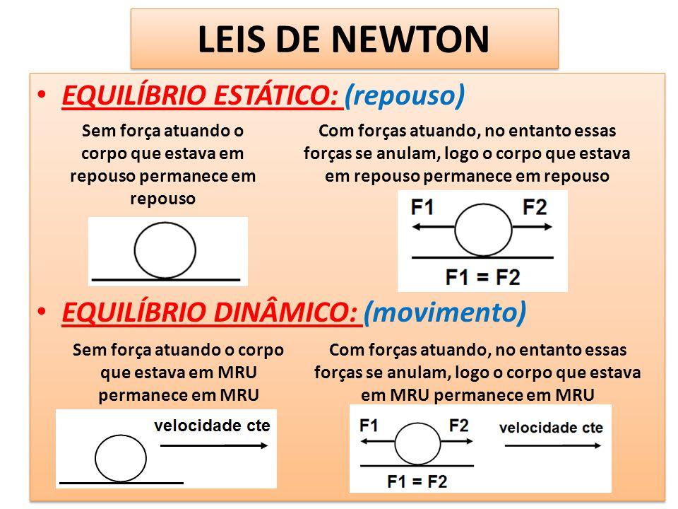 LEIS DE NEWTON EQUILÍBRIO ESTÁTICO: (repouso) EQUILÍBRIO DINÂMICO: (movimento) EQUILÍBRIO ESTÁTICO: (repouso) EQUILÍBRIO DINÂMICO: (movimento) Sem for