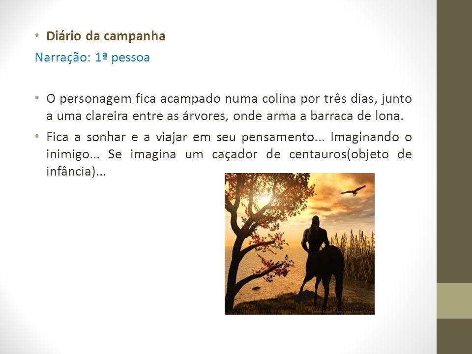 Diário da campanha Narração: 1ª pessoa O personagem fica acampado numa colina por três dias, junto a uma clareira entre as árvores, onde arma a barrac