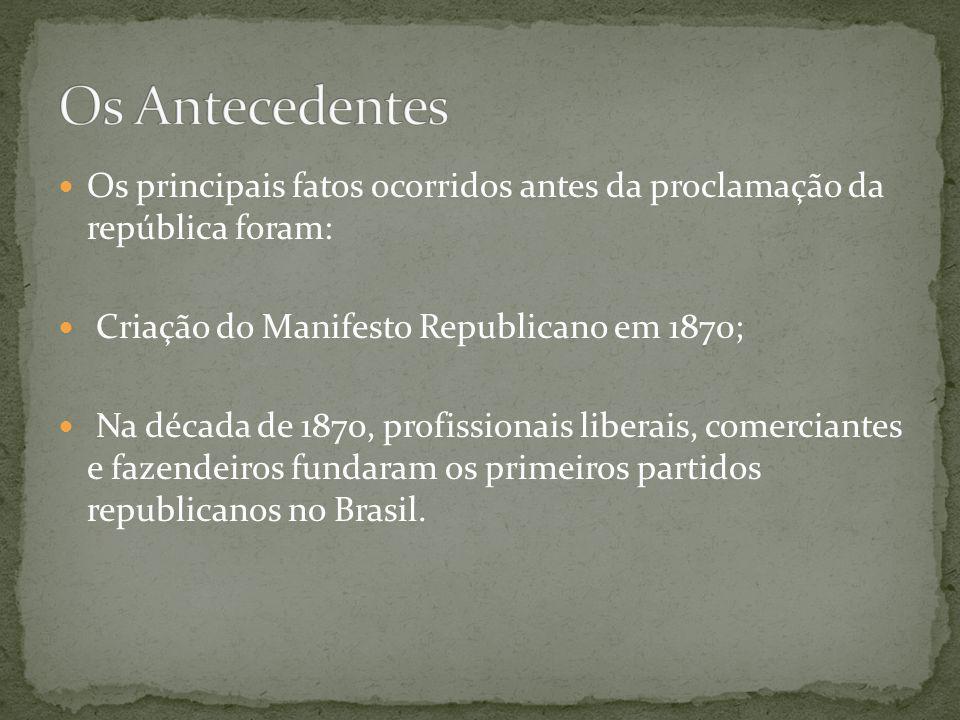Os principais fatos ocorridos antes da proclamação da república foram: Criação do Manifesto Republicano em 1870; Na década de 1870, profissionais libe