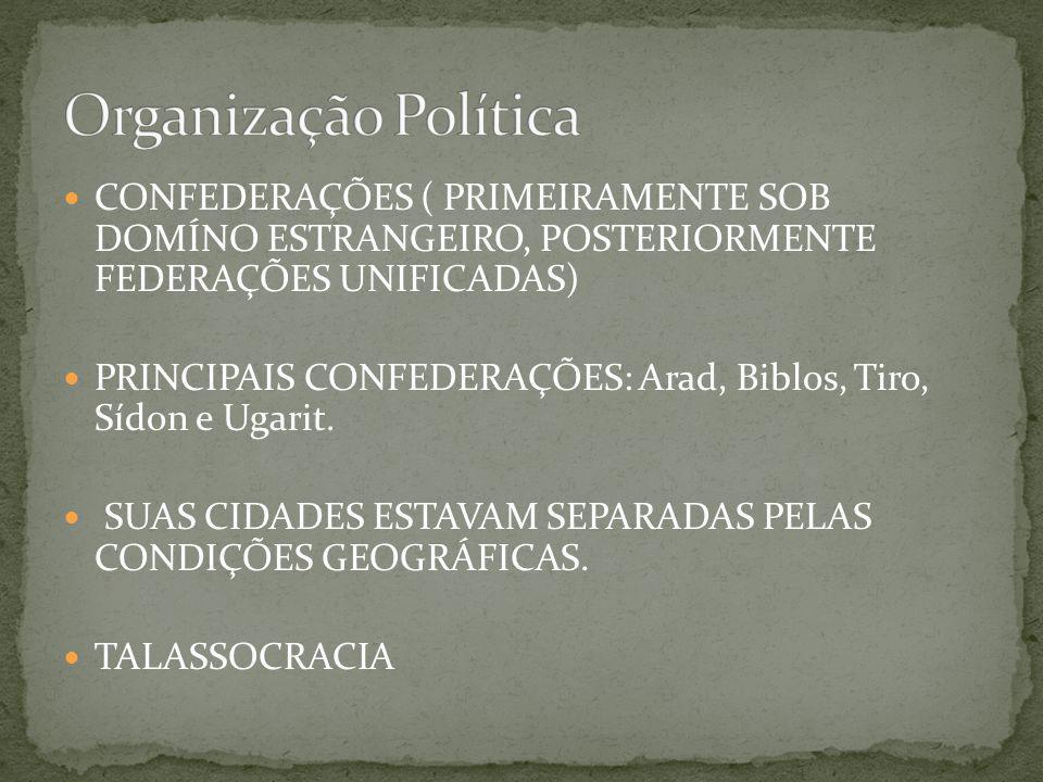 CONFEDERAÇÕES ( PRIMEIRAMENTE SOB DOMÍNO ESTRANGEIRO, POSTERIORMENTE FEDERAÇÕES UNIFICADAS) PRINCIPAIS CONFEDERAÇÕES: Arad, Biblos, Tiro, Sídon e Ugar