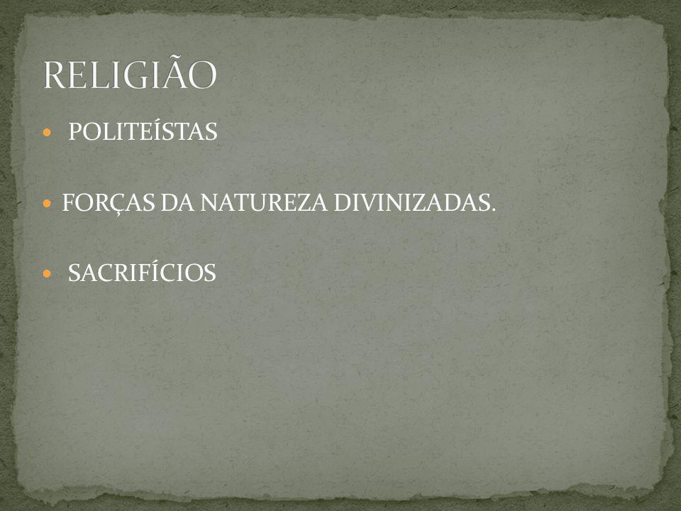 POLITEÍSTAS FORÇAS DA NATUREZA DIVINIZADAS. SACRIFÍCIOS