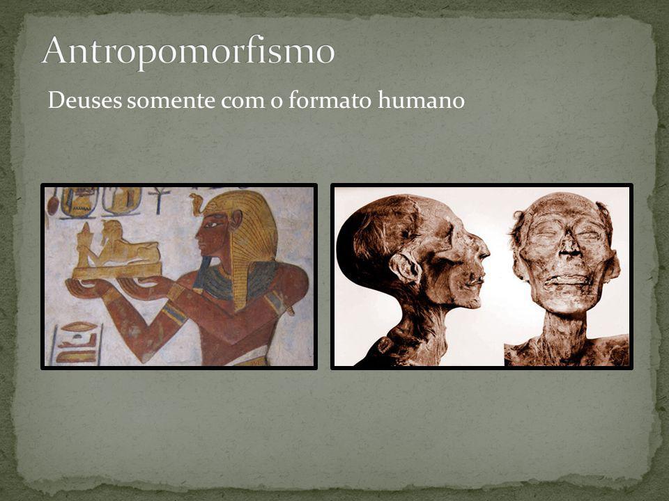 Deuses com o formato de homem juntamente com animal (corpo de homem e cabeça de animal )